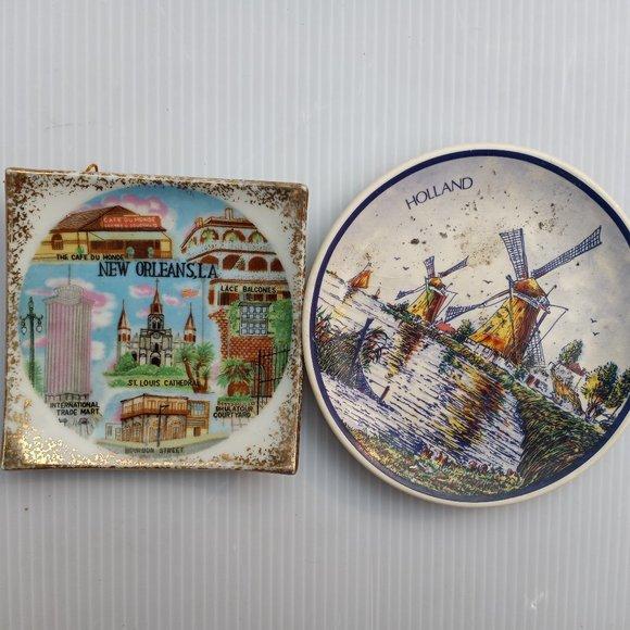 Two Vintage Mini  Trinket/Plates /Wall Art.